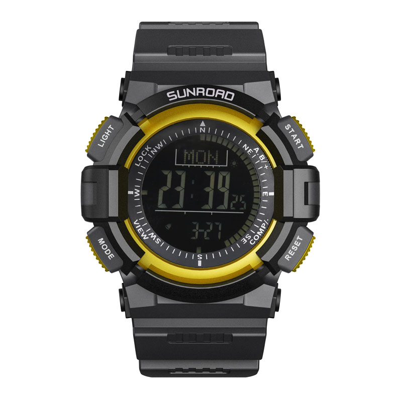 SUNROAD Digital Sports Men Wristwatch FR820B-Fishing Barometer Altimeter Watches Weather Forecast Clock Yellow Men Digital Watch sunroad digital sport men watch fr820a 3atm waterproof fishing barometer altimeter watch weather forecast clock yellow men watch