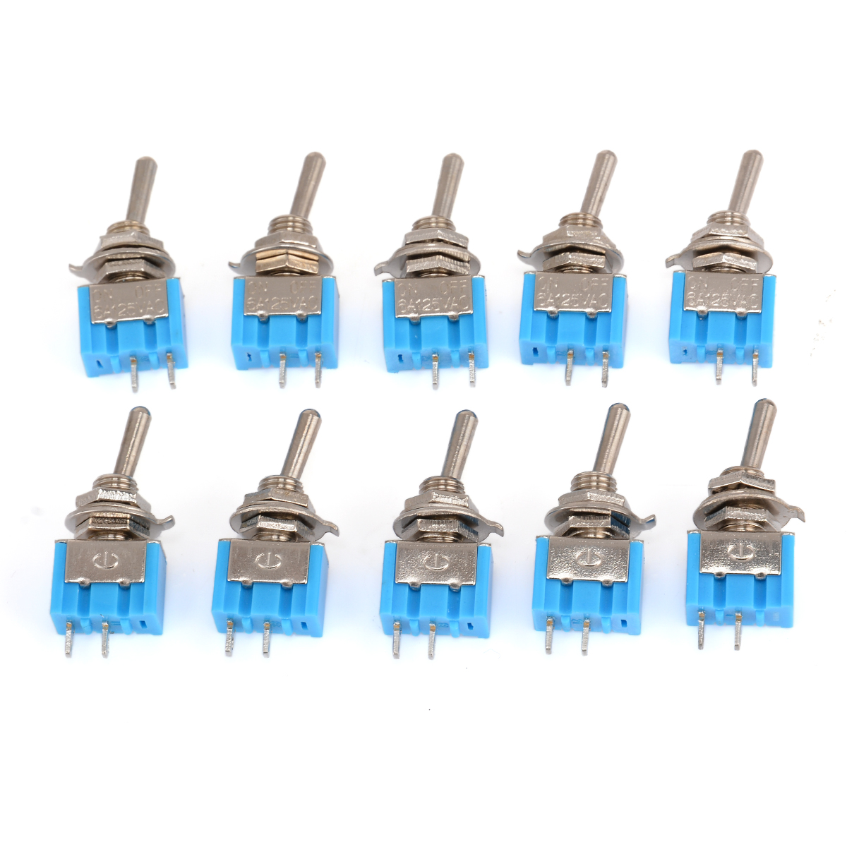 10pcs MTS-101 2 Pin SPST Switch ON-OFF 2 Position 6A 250V AC Mini Toggle Switches 33*13*8mm Mayitr Electrical Supplies 10pcs dark blue 3 position spst latching switches mini on off on toggle switch 6a 125vac 3a 250vac for switching lights motors