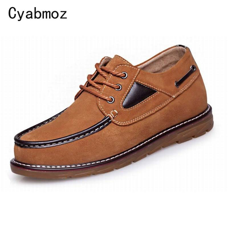 Trend Elevator Shoes 2018 Spring Hot Fashion Breathable Cow Suede Casual Shoes Lace-Up Height Increasing Flats Men Shoes Oxfords