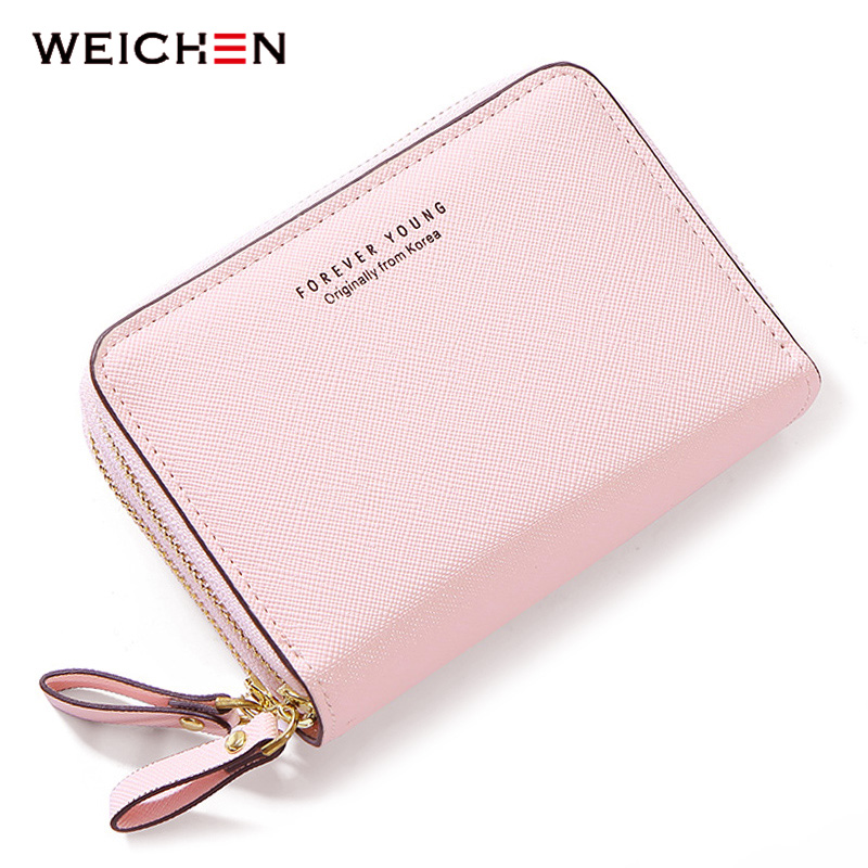 WEICHEN Double Zipper Women Wallets Synthetic Leather Small Purses & Wallets Female Card Holder Coin Pocket Ladies Short Clutch weichen latest pu leather zipper