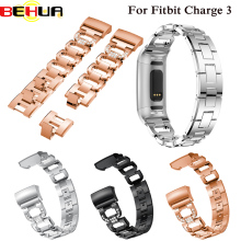 Fashion Luxury Watch Band Metal Bracelets Replacement Adjustable Straps Crystal For Fitbit Charge 3 Smart watch Strap Belt