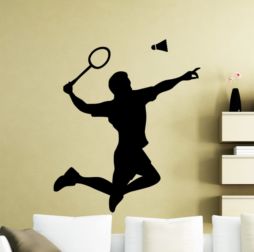 Hot Selling Badminton Player Wall Decal Living Room Art Mural Shuttlecock Racquet Pattern Jumping Wall Stickers Sport DIY SYY532