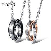 Miłośnicy mody biżuteria titanium stal nierdzewna charm pokój grono zawieszki naszyjniki para miłość prezenty urodziny xmas ruier315