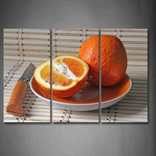 3 Piece Wall Art Painting Orange In Plate With Knife Picture Print On Canvas Food 4 The Picture Home Decor Oil Prints