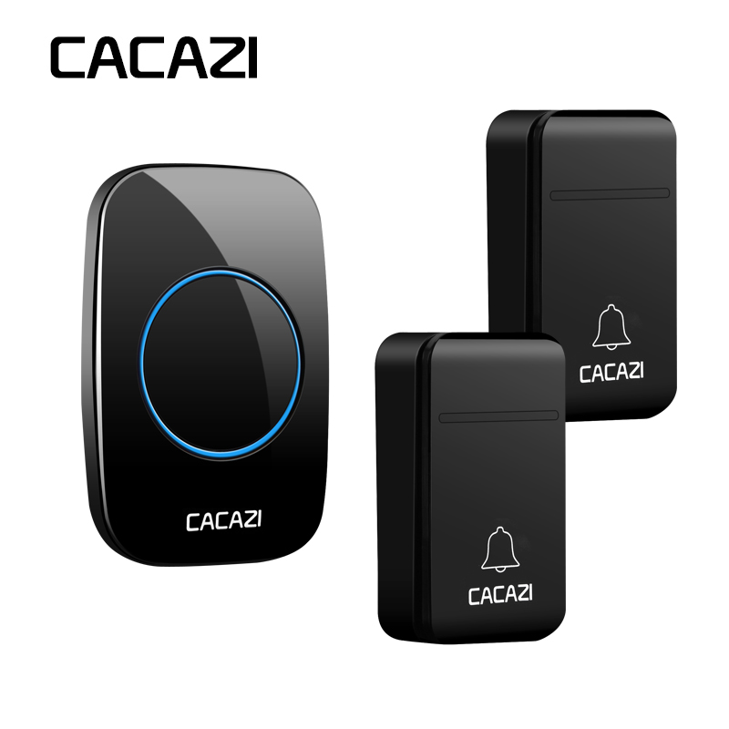 CACAZI Self-Powered No Battery Wireless Doorbell Waterproof Smart 200M Remote LED Home Cordless Bell 38 Rings 3 Volume EU Plug