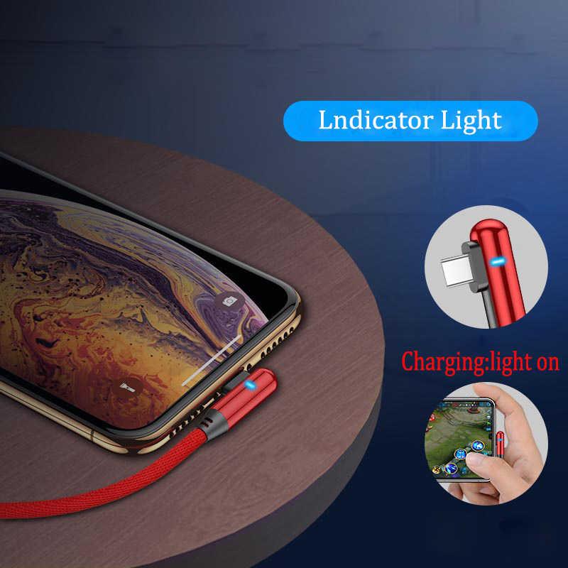 USB del Caricatore di Dati di 90 Gradi Cavo Indicatore Veloce per il iphone X XR XS MAX 5 5S SE 6 S 6 S 7 8 Più iPad Del Telefono di Carica lungo