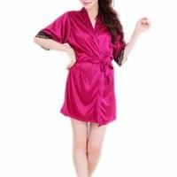 Women Lace Silk Kimono Plain Satin Robe Dressing Gown Bath Babydoll Lingerie Nightdress Black Purple Pink