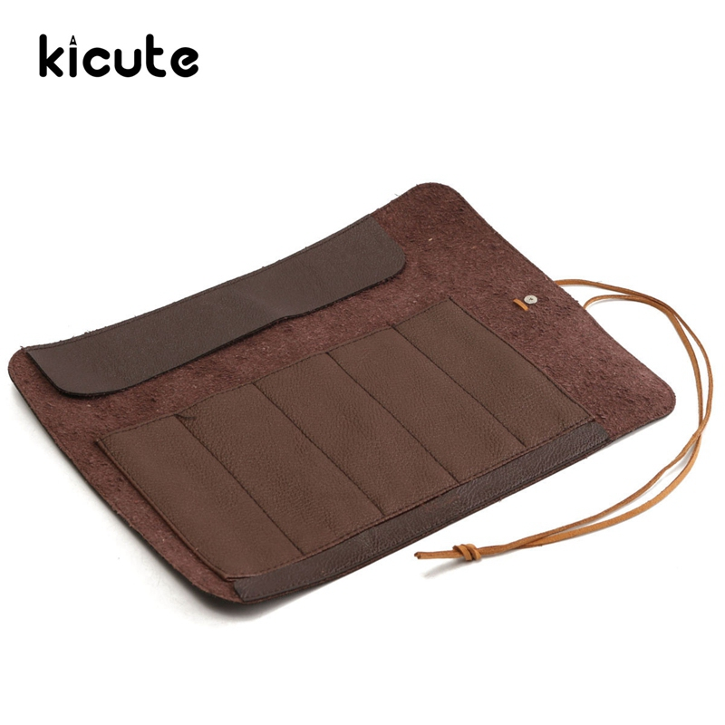 Kicute New 5 Holes Brown PU Leather Roll Up Pencil Case Storage Bag Cosmetic Holder Bag Pen Bag Pouch Office School Stationery