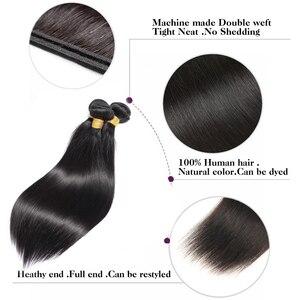 Image 3 - ブラジルのストレートヘアの束で非レミー人間の髪織り束 28 30 32 インチバンドルで閉鎖