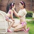 Familia look ropa nueva infantil de verano Bikini de baño los niños bañadores de dibujos animados bebé Floral traje de baño Set de dos piezas de desgaste de la natación
