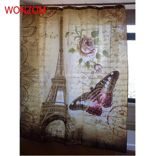 WONZOM Torre Eiffel Impermeabile Tenda Della Doccia Parigi Bagno Decor Paesaggio