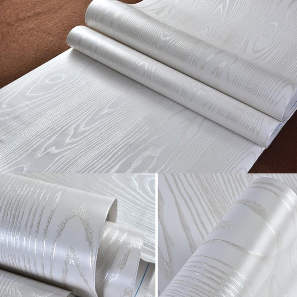 Shelf Liner 3D Embossed Silver White Wood Grain Wallpaper Peel StickerSelf Adhesive Papel Contact Preto Waterproof