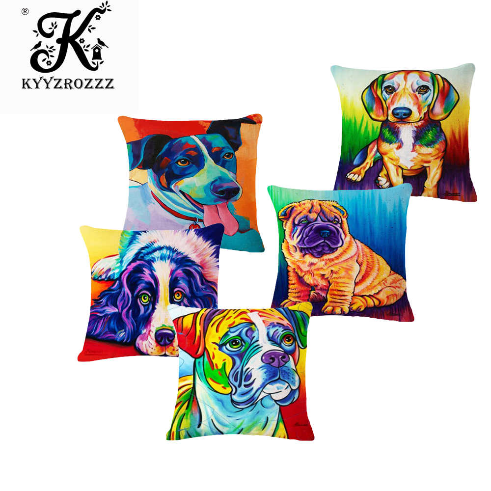 แฟชั่นผ้าฝ้ายผ้าลินินคุณภาพสูง Original Heavy สีสัตว์เลี้ยงสุนัขโยนหมอน Case Cushion Cover โซฟาตกแต่งบ้าน