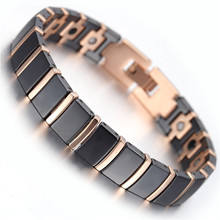 Mens Tungsten Bracelet, Rose Gold & Black, 7.9″ Link Chain Wristband Health Care Jewelry KB1497