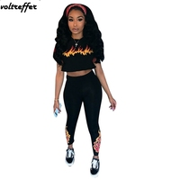 Fire Printed Two Piece Set Women's Sexy Casual Outfits Black Crop Top And Pants Suits Bodycon Bodysuits Sweatsuit Sets Summer