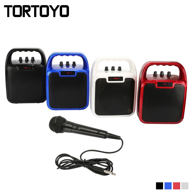 TORTOYO Outdoor Portable Karaoke Loudspeaker Stereo Bluetooth 3.0+EDR Wireless Speaker with Microphone Support TF Card FM Radio portable usb2 0 bluetooth v2 1 edr stereo mini speaker w hand free tf funcrtion blue black