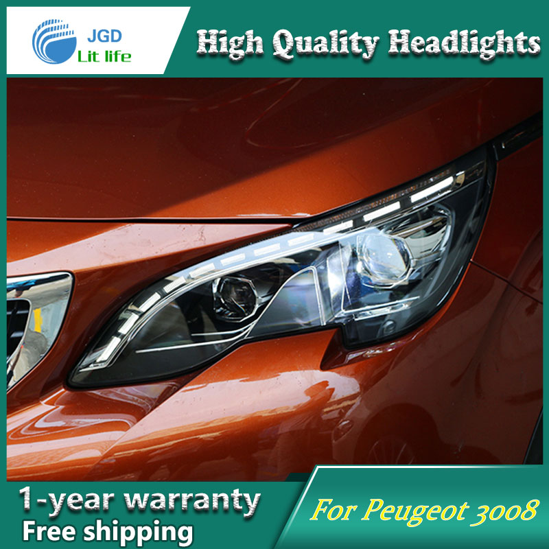 high quality Car styling case for Peugeot 3008 2017 Headlights LED Headlight DRL Lens Double Beam HID Xenon Car Accessories hireno headlamp for peugeot 4008 5008 headlight headlight assembly led drl angel lens double beam hid xenon 2pcs