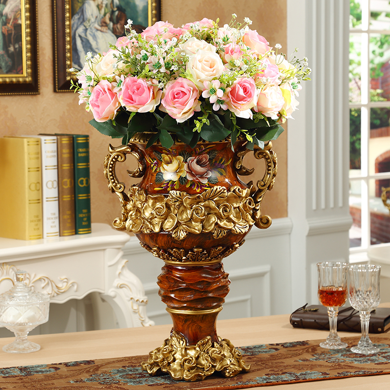 European Luxury Resin Vase Crafts Retro Creative Home Decoration Hotel Floor Large Vase Flower Arrangement Ornament Wedding Gift