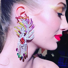 Hot Sale Luxury Stunning Multilayer Rhinestone Gems Earrings for Women Baroque Jewelry Fashion Gorgeous Drop Dangle Earrings pair of stunning faux pearl rhinestone drop earrings for women