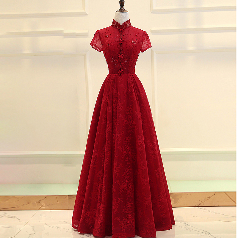 Red Lace Beading Backless A Line Long   Evening     Dresses   2018 Embroidery Short Sleeves Lace up Formal   Evening     Dress