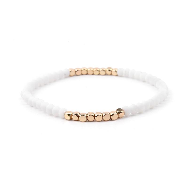 BOJIU многоцветные Кристальные браслеты для женщин золотые акриловые медные бусины розовый белый черный серый женский браслет с кристаллами BC226 - Окраска металла: 14-White