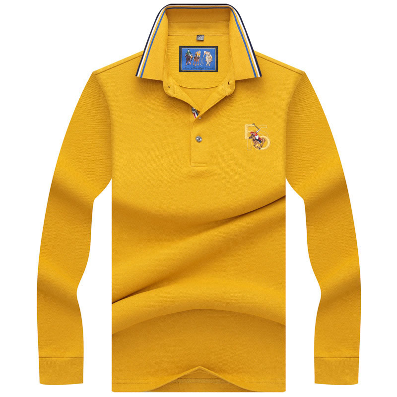 Mens   Polo   Shirt Brands 2018 Male Long Sleeve Casual Slim Solid Color Horse Embroidery   Polos   Men 3XL