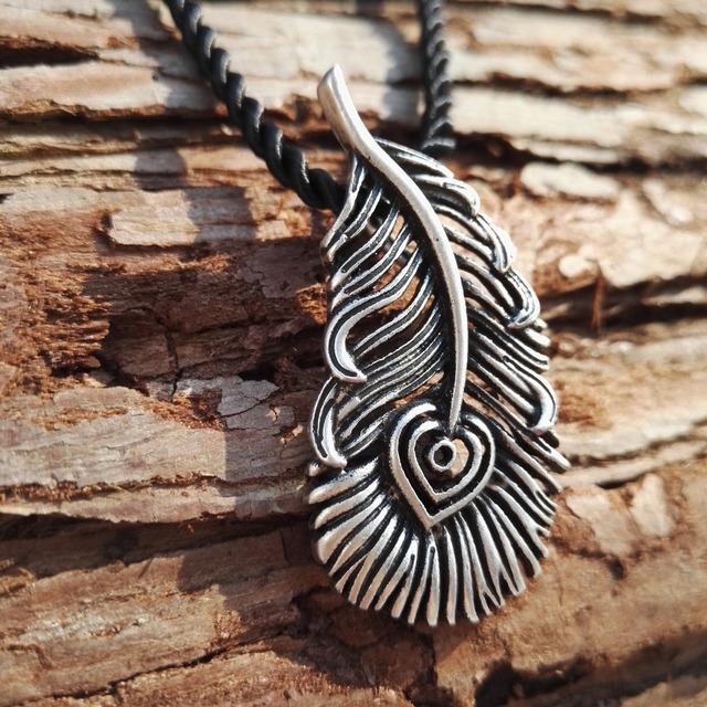 20pcs new men jewelry antique silver plated slavic fire-bird's feather pendant  firebird phoenix necklace norse slavic jewelry