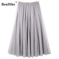 RealShe 2018 Coréen Printemps Preppy Élastique Taille Haute robe de Bal Jupe Femmes Automne Hiver Jupes Longues Ulzzang Faldas Mujer Saias