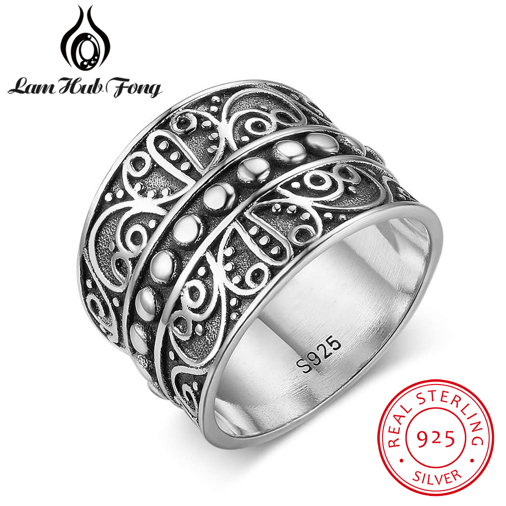 Vintage 925 Sterling Silver Rings for Women Exquisite Butterfly Pattern Female Wide Ring Retro Jewelry Accessories(Lam Hub Fong)Vintage 925 Sterling Silver Rings for Women Exquisite Butterfly Pattern Female Wide Ring Retro Jewelry Accessories(Lam Hub Fong)