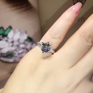 Image 5 - Classic Six claw 100% Soild 925 Sterling silver ring sona 1ct AAAAA Zircon Cz Engagement wedding band rings for women jewelry