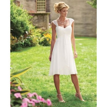 Cheap!!Garden Short Wedding Dress New 2017 Beach Chiffon Simple Cap Sleeve Bridal Gowns Summer US2-26W++ Casual Vestidos Fashion