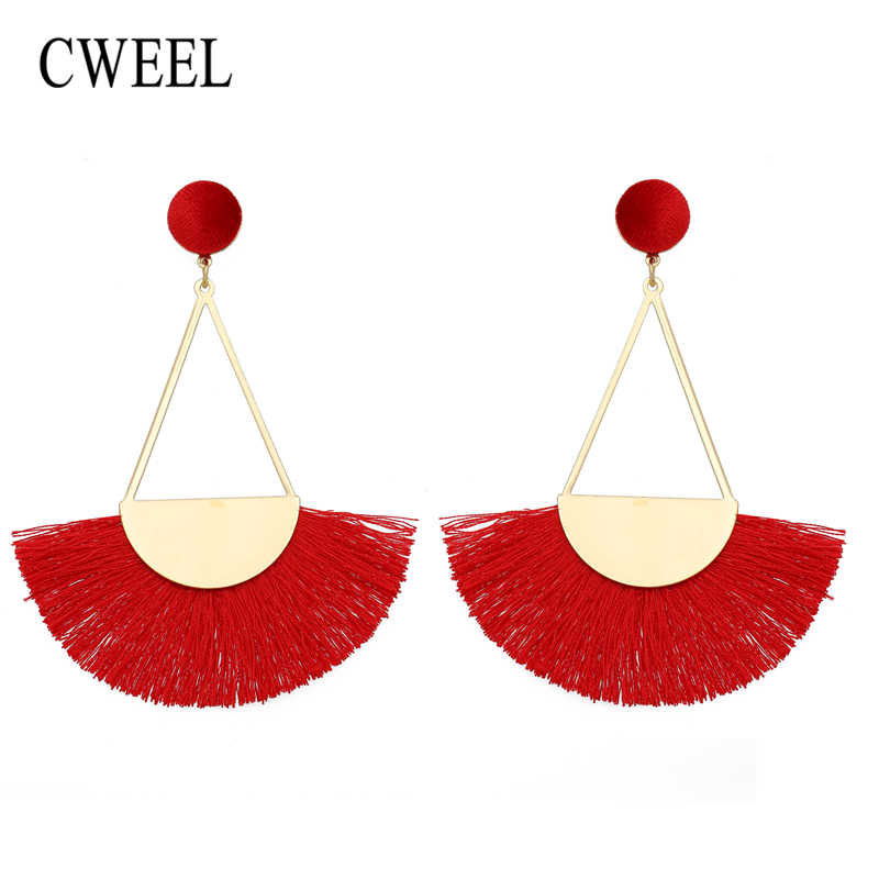 CWEEL Fashion Long Tassel Earrings For Women Bohemian Earrings Female Vintage Circle Dangle Drop Earing Wedding Brincos