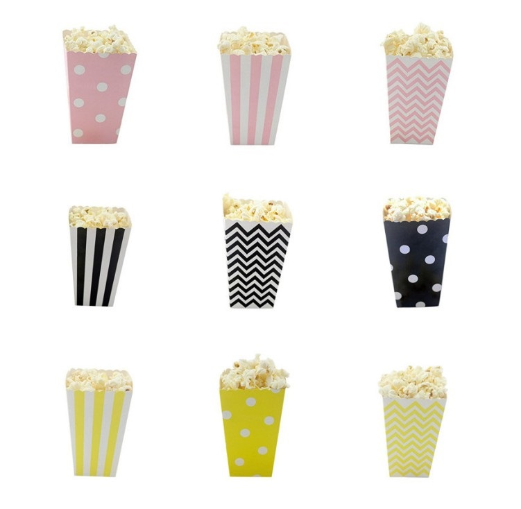 12pcs Red Black Stripe Wave Dot Paper Popcorn Boxes Wedding Decoration Candy Gift Box Packaging Baby Shower Favor Party Supplies