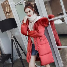Brieuces 2017 Women Winter Coat Cotton Padded Jackets Pink Fur Collar Long Parkas Warm Hooded Female