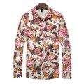 2016 мужская Плюс Размер рубашки Высокого Качества С Длинными Рукавами Цветочные печать Рубашки сорочка homme Мужчины Мода Slim Fit Рубашки рубашки