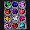 12 Colors Holographic Glitter Round 1mm 2mm 3mm Mixed Dot Design Flakes Craft Glitter Paillettes Nail