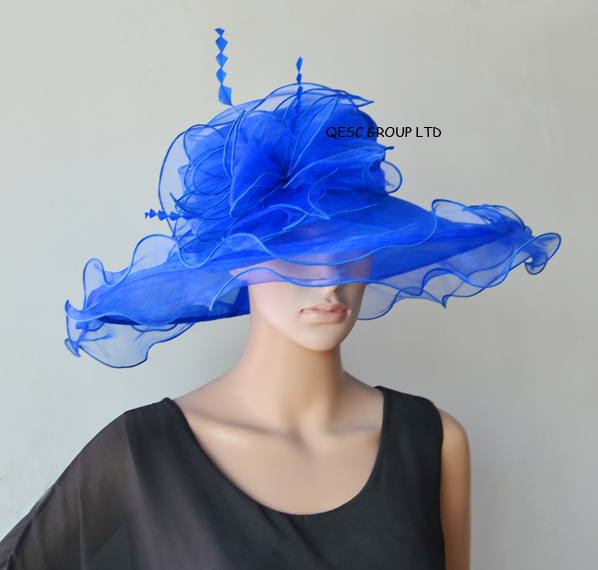 1d34c1080e5 Cobalt Royal blue New Design.X large Dress Church Organza Hats fascinator  for kentucky derby