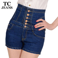 TC Plus Size 5XL 2016 New Womens Summer Fashion Slim High Waist Single-Breasted Button Pockets Denim Jeans Shorts Mujer FT00694