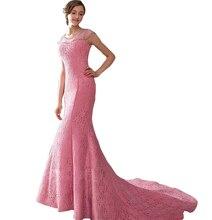 Vestido de festa longo Elegante Oansatz Mermaid Durchsichtig Luxus Rosa Lange Spitze abendkleid Besondere Anlässe Party Kleider