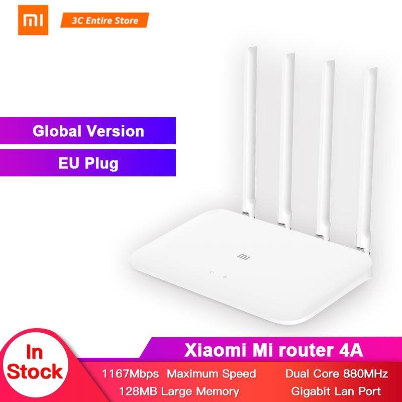 Versão Global Xiao mi mi 4A edição 2.4GHz + 5GHz Wi-fi Roteador Gigabit 16MB ROM + 128MB DDR3 4 Alto Ganho Antena Controle APP IPv6