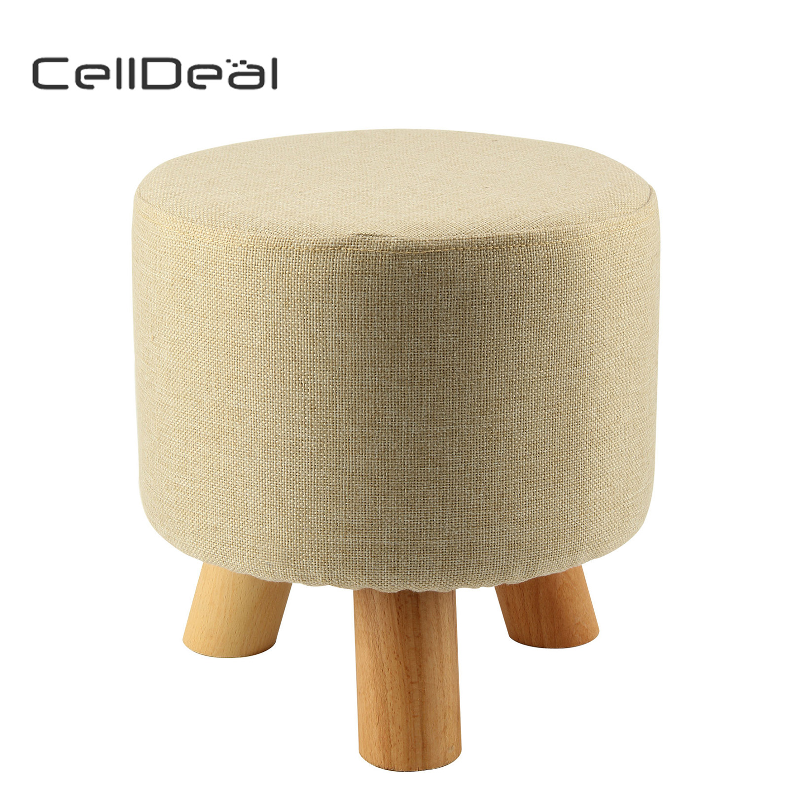Linen Color Round Triangular Modern Footstool Ottoman Round Stool + Wooden Leg Bench Lattice Foot Stool
