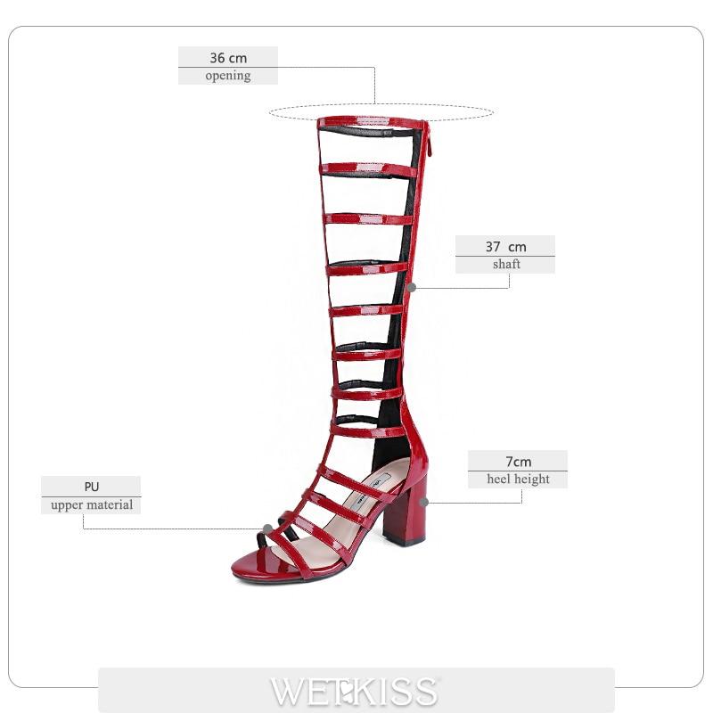 WETKISS Gladiator Knee High Women Boots Open Toe Square Heels Pu Footwear Zipper 2019 Fashion High Heels Summer Ladies Shoes