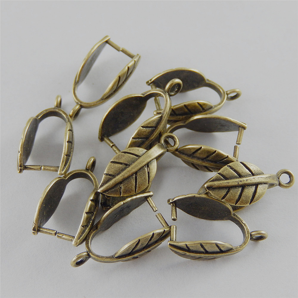 12pcs Antiqued Bronze Tone Brass Vivid Leaf Clasps End Pendant Charms Findings Handmade Je
