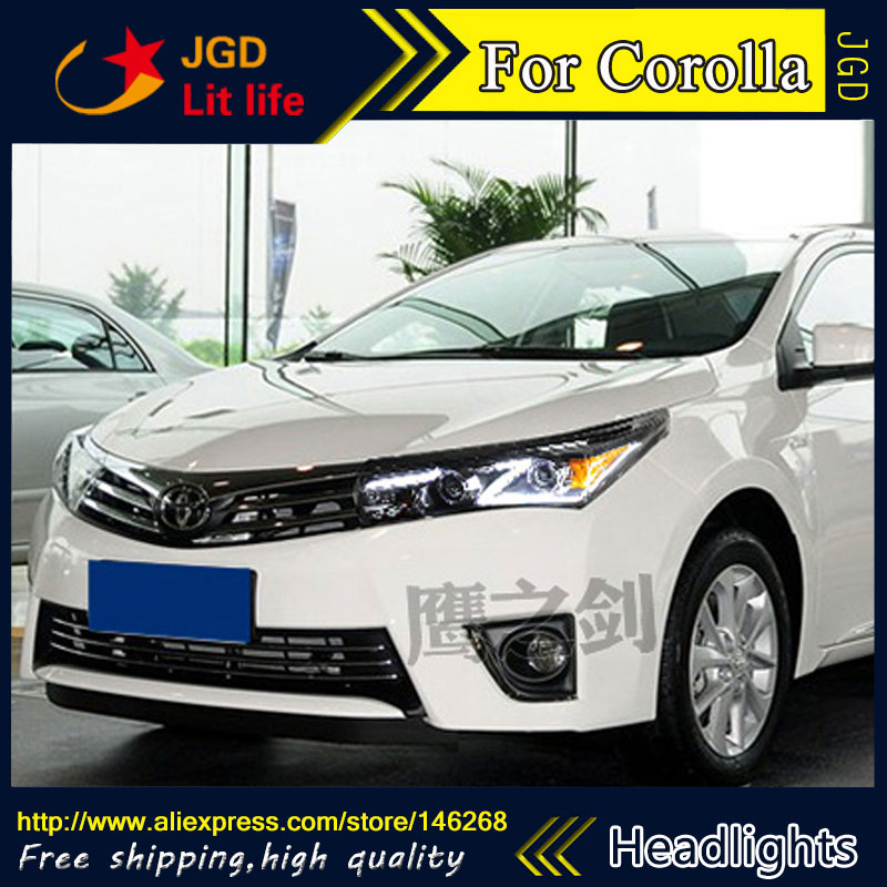 Free shipping ! Car styling LED HID Rio LED headlights Head Lamp case for Toyota Corolla 2014 Bi-Xenon Lens low beam
