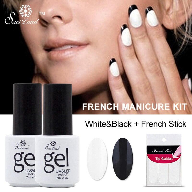 Saviland 2pcs French Manicure Set Nail Art Black + White+French ...