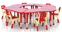 New!!! Only Table Height Adjustable Combined Trapezoid Table Super Quality Kindergarten Children Plastic Furniture CH 2603