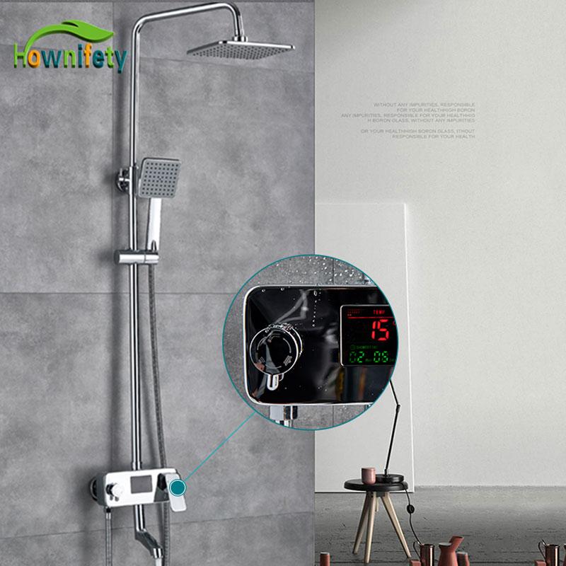 クロームデジタルシャワー蛇口シングルハンドルバスシャワー蛇口システム抗アイロン温度表示シャワーミキサースイベルスパウト  グループ上の 家のリフォーム からの シャワー 蛇口 の中 1