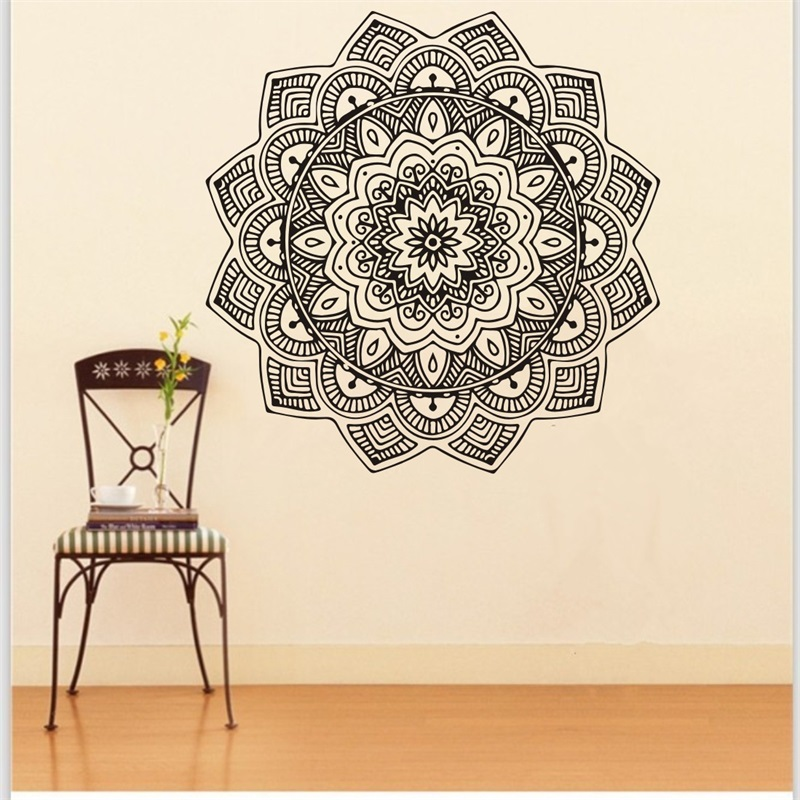 Large Buddhism India Mandala Wall Sticker For Living Room Namaste Removable Creative Vinyl Wallpaper Mural Home Decoration