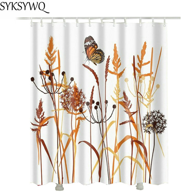 Dandelion Butterfly Shower Curtain White Fabric Polyester Waterproof Harvest Wheat Bathroom Drop Shipping