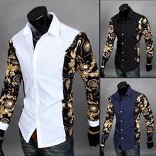 2017 Дешевые Одежда Китай Homen Золото Рубашке Camisa Социальной Masculina Рубашки Белого Золота Мужская Роскошь Барокко Клуб Топы